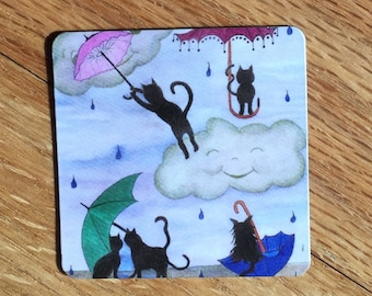 Magnet, 2 inches x 2 inches, rounded corners, fridge, Rainy Day, Kitty Umbrellas, Rain Storm, Perfect Small Gift
