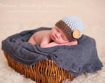 Newborn Boy Hat Photo Prop / Crochet Newborn Boy Hat / Newborn Boy Photo Prop / Baby Boy Hat / Newborn Knit Hat Boy / Wood Button Hat