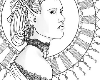 Hanna - 8x10 Adult coloring page digital download