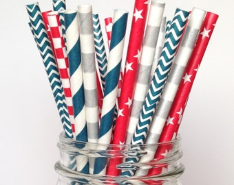 Paper Straws Americana, Red White Blue Disposable Straws 25ct. 4th of July Decorations Independence Day Veterans Day Military