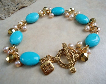 Turquoise Stone Cluster Bracelet.Freshwater Pearls.Toggle.Gold.Silver.Bridal.Beadwork.Blue.Natural Stone.Chunky.Statement.Gemstone.Handmade.