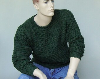 Men's Sweater, Men's Crochet Sweater, Men's Wool Sweater, Green Sweater, Wool Sweater Men, Forest Green Sweater, Available in M and L