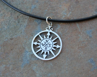 True North necklace- sterling silver compass on black leather cord- mens or women's - follow your heart -  free shipping in USA