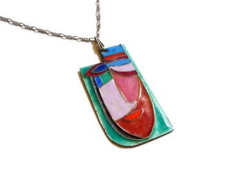 Modernist Abstract Sterling Cloisonne Enamel Mask Pendant