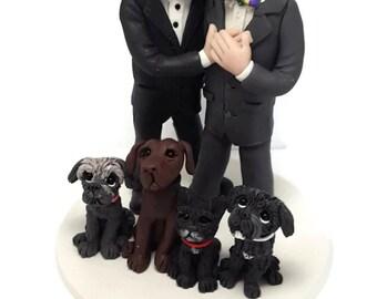 Grooms Wedding Cake Topper, same sex cake topper, 2 grooms cake topper, CUSTOM cake topper, gay cake topper,  lesbian wedding cake topper