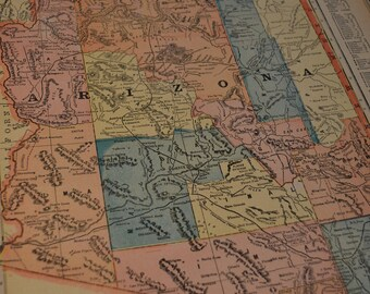 1904 State Map Arizona - Vintage Antique Map Great for Framing 100 Years Old