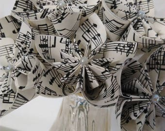 Paper flowers music and notes