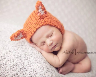baby fox hat , baby boys hats, baby girls hats, fox hat, newborn fox hat, photo props, coming home outfit , knit baby hats