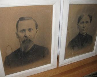 """MR And MRS BENEDICT Antique Framed Photographs Sidney Centre N Y In Original Frames 18"""" X 22"""""""