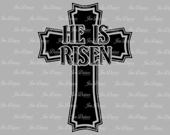 He is Risen Cross SVG DXF EPS, Easter Svg, cross svg, Jesus svg, svg cutting files, silhouette file, He is Risen, Easter cross, cross svg