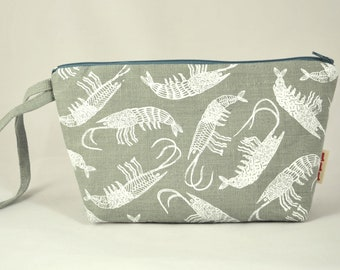 handprinted cosmetic pouch
