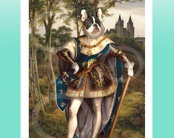 French Bulldog Tudor Piebald Knight Giclee Print 8.5x 11 Whimsical Dog Art, Anthropomorphic Animals Wearing clothes- Digital Artwork Gift