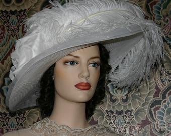 Kentucky Derby Hat, Ascot Hat, Edwardian Hat, Downton Abbey Hat, Wedding Hat, Wide Brim Hat, Del Mar Hat - Lady Adella