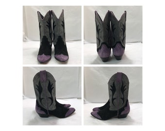 Vintage Purple and Black Suede Cowgirl Boots sz: 9M