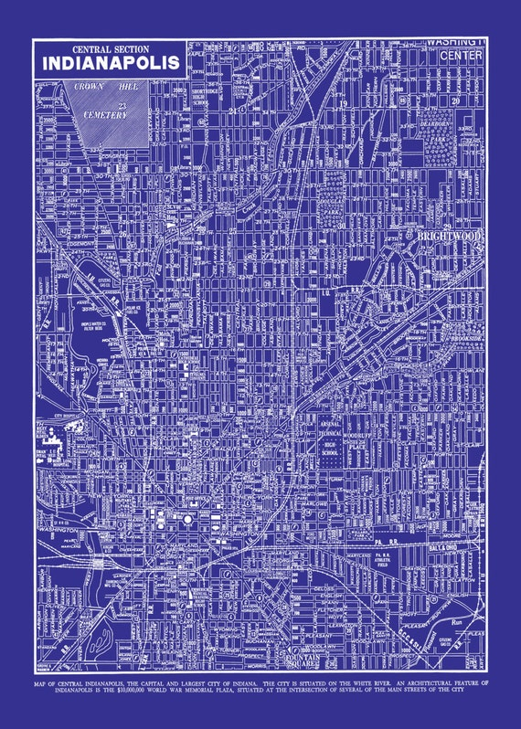 1944 indianapolis street map vintage blueprint print poster malvernweather Images
