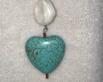 Turquoise heart stone with white bead on 10.5 silver chain necklace