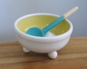 Salt Cellar with Handmade Ceramic Spoon, Small Footed White and Yellow Pottery Salt Bowl, Salt Pig, Hand Thrown Stoneware, Chef Gift