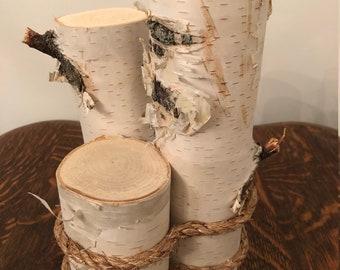 3 Tier Pillar White Birch Log Centerpiece