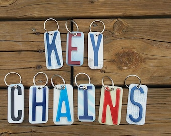 Letter Key Chain - License Plate Keychain Letter - Initials Monogram Key Ring Key Chain Real License Plates - Small Gift - Stocking Stuffer