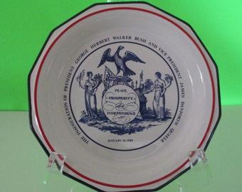 PRESIDENT GHW BUSH Sr Inauguration Commemorative Plate, Presidential Inauguration Plate, George Bush Sr President Plate, 1989 President Plat