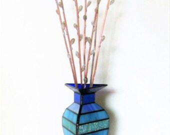 Pussy Willows in Modern Blue Vase - Stained Glass, and Flame Worked 3D Glass Sculpture