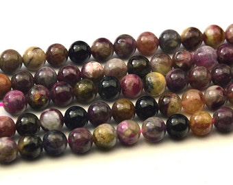 "15.5""  Natural  Tourmaline  Mix Color  8MM Round Bead"