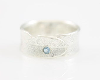 Overlapping Bodhi Leaf Ring with Flush Set Aquamarine, sterling silver, silver leaf, leaf jewelry, botanical, unique rings,tarnish resistant