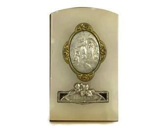 Antique Lourdes Souvenir Plaque. French Religious Silver Medal.
