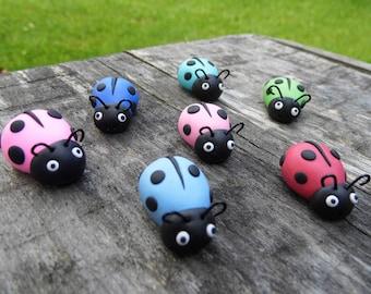 Set of 7 custom ladybug magnet figurine, Refrigerator magnet, Ladybug figurine, Clay ladybug, Ladybug decoration, Kitchen decor ladybug