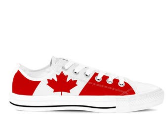 Canada - Canadian Flag Men's Custom Canvas Sneakers / Shoes - Red/ White