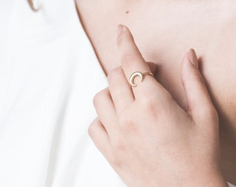 Gold Ring For Women, Celestial Ring, Crescent Moon Ring, Simple Elegant Ring, Minimalist Fashion Ring, Boho Ring, Classic Gifts For Her