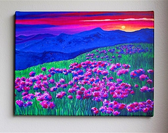 Rainbow Sunset-Soaked Mountain Landscape Signed Print on Stretched Canvas