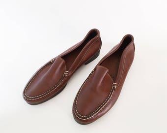 Lars Slides - Vintage 80s Brown Leather Loafer Flats 10