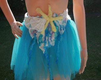 Beautiful Pixie Fairy Mermaid Siren Felt Belt/Skirt/Scarflette OOAK Wearable Art. Ready to send.