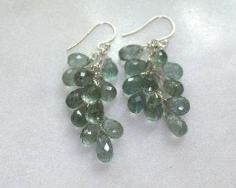 Sparkling AAA Moss Aquamarine Cluster teardrop earrings in sterling