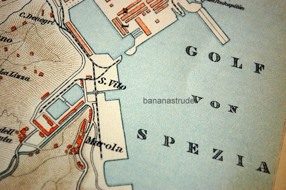 Antique Map of La Spezia Italy 1895 Vintage City Map Old