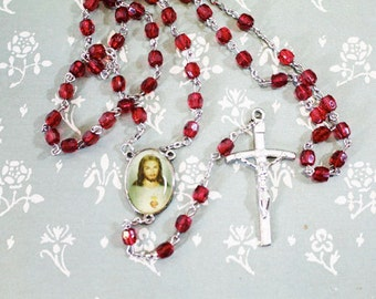 Red Rosary with picture of Jesus, Cross with Jesus, Crucifix, Rosary Beads, Vintage Rosary, Vintage Catholic