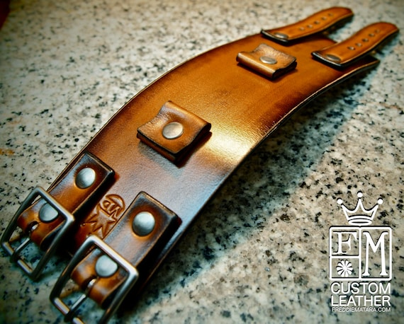 Leather cuff Bracelet watchband Vintage Johnny Depp style wristband Custom Made for YOU in USA by Freddie Matara!