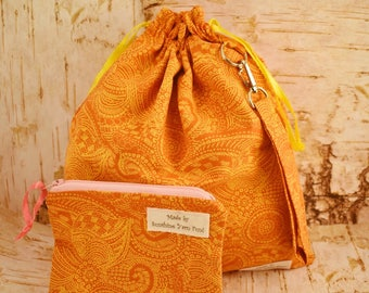 Bohemian Tangerine Drawstring Project Bag Kit