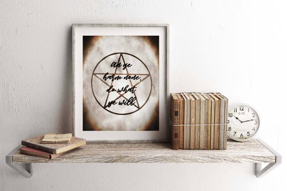 Wiccan Home Decor Witch Home Decor Pentacle Print Witch Art