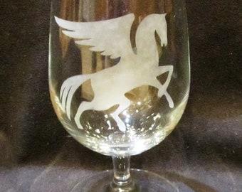 Fantasy goblets, etched glass. Set of 4.