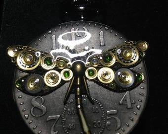 Moon Glory Gears Mechanical Pocket Watch, Dragonfly, Black with Blue interior
