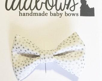 Handmade Baby Bow - Baby Headband - Hair Clip - White and Silver