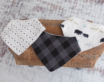 Bandana bib set, baby boy, drool bib, deer, plaid, and triangles
