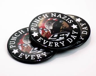 Punch Nazis Every Day - Tattered Third Reich Design - Button or Magnet