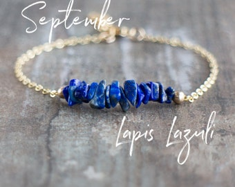 September Birthstone Bracelet, Blue Lapis Bracelet, Raw Lapis Lazuli Bracelet, Gemstone Jewellery, Inspirational Jewelry, Gift for Her