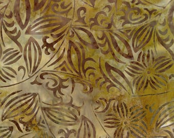 Marcus Bros - Primo Batik Neutral - River Rock - Floral - Fabric by the Yard 0876-0189