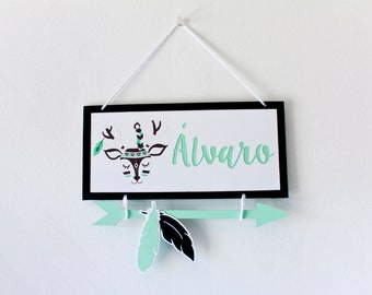 DEER sign personalized baby name, deer nursery, BLACK deer MINT, sign deer indian baby, decoration tribal deer, deer baby room, birth gift