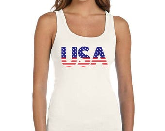 American Flag USA Patriotic 4th of July - Women's Tank Top Sleeveless Shirt