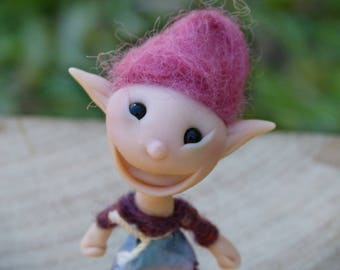 Miniature Pixie Doll,  Poseable Elf Doll, Polymer Clay Girl Doll